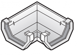 114mm Square Gutter 90° Corner