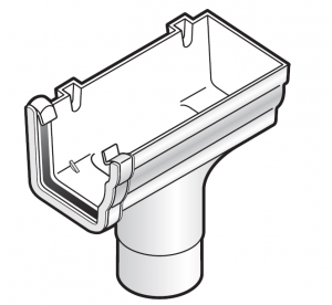 FloPlast Niagara Ogee 80mm Downpipe Stopend Outlet - Right Hand
