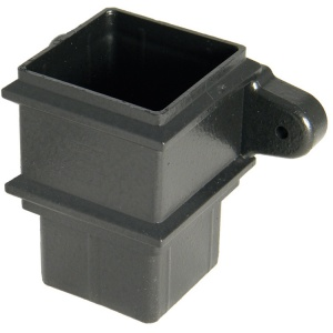 FloPlast Cast Iron Effect 65mm Square Downpipe Joint Socket with fixing lugs
